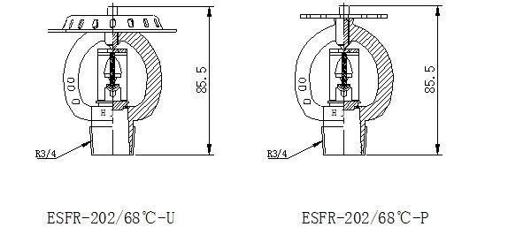 Đầu phun phản ứng nhanh quay xuống D20, 68 ĐỘ C